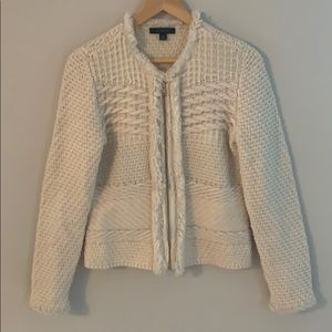 Ann Taylor fringe cable knit zip sweater jacket.